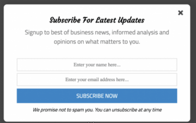 Email List Subscribe Box